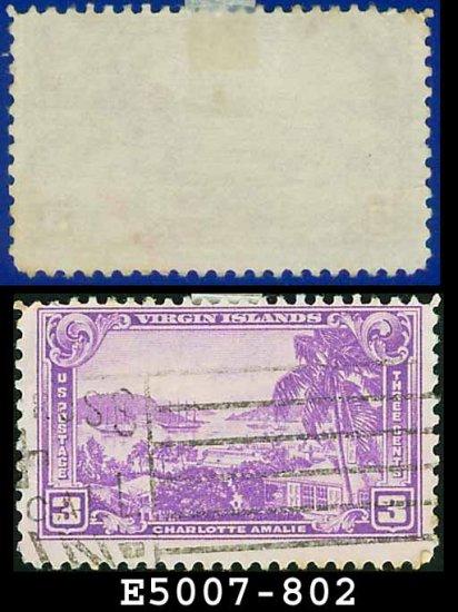 1937 USA USED Scott# 802 � 3c Charlotte Amalie Harbor � 1937 Commemoratives