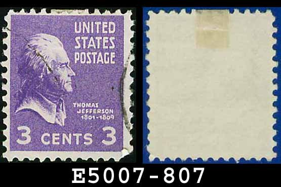 1938 USA USED Scott# 807 � 3c Jefferson � 1938 Presidential Series