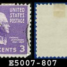 1938 USA USED Scott# 807 – 3c Jefferson – 1938 Presidential Series