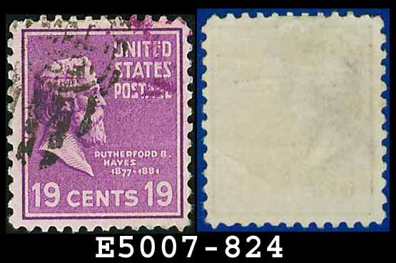 1938 USA USED Scott# 824 � 19c R Hayes � 1938 Presidential Series