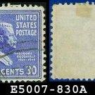 1938 USA USED Scott# 830 – 30c T Roosevelt – 1938 Presidential Series