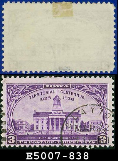 1938-39 USA USED Scott# 838 � 3c Old Iowa Capital Building � 1938-39 Commemoratives