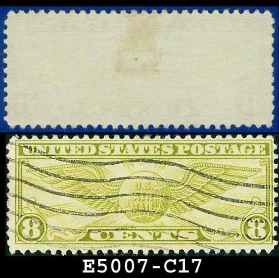 1931-32 USA USED Scott# C17 � 8c Winged Globe � Air Mail Stamp