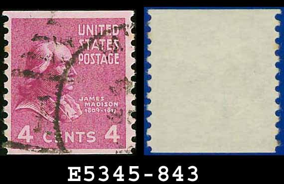 1938 USA USED Scott# 843 � 4c J Madison � 1938 Presidential Rotary Coil Series