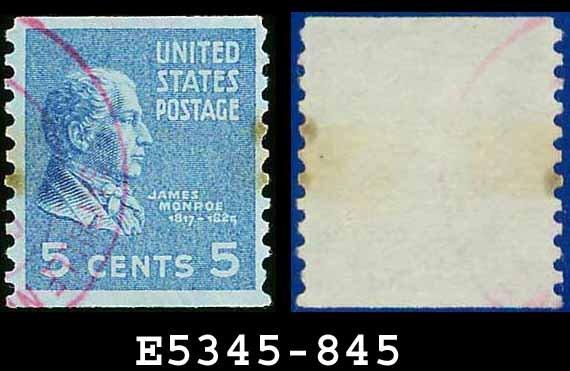 1938 USA USED Scott# 845 � 5c Monroe � 1938 Presidential Rotary Coil Series