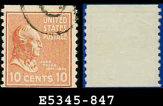 1938 USA USED Scott# 847 � 10c J Tyler � 1938 Presidential Rotary Coil Series