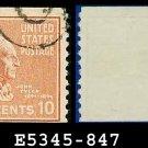 1938 USA USED Scott# 847 – 10c J Tyler – 1938 Presidential Rotary Coil Series
