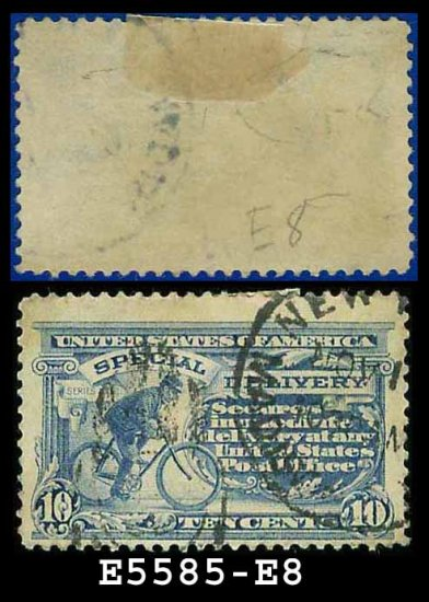 1911 USA USED E8 � 10c Ultramarine Messenger on Bicycle - Special Delivery Issue