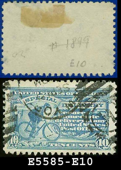 1916 USA USED E10 � 10c Pale Ultramarine Messenger on Bicycle - Special Delivery Issue