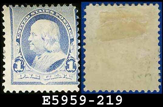 1890-93 USA UNUSED Scott# 219 � 1c Dull Blue Franklin � 1890-93 Regular Issue