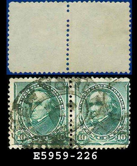 1890-93 USA USED Scott# 226 � 10c Green Webster PAIR� 1890-93 Regular Issue
