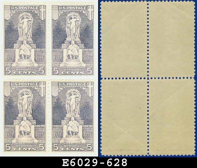 1926 USA Scott# 628 UNUSED Block of Four � 5c John Ericsson Statue � Ericsson Memorial E6029
