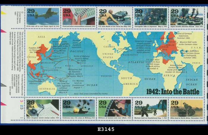 1992 USA MNH UNUSED Scott# 2697 � 1942 WWII Souvenir Sheet