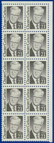 1986-88 USA Sc# 2180 UNUSED Block of Ten � 21c Chester Carlson � Great Americans E4116