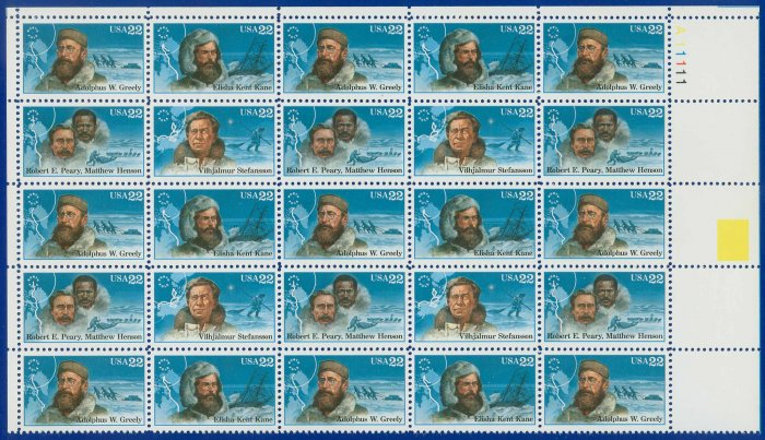 1986 USA UNUSED Scott# 2220-23 - 22c Polar Explorers Partial Sheet of 25 stamps � E4116