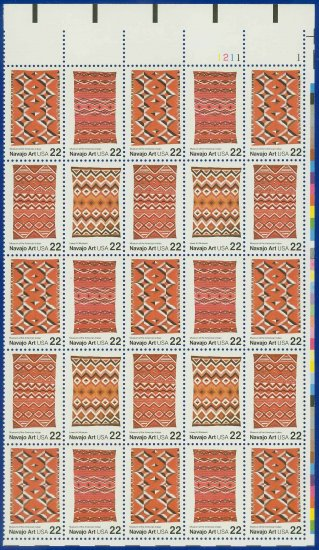 1986 USA UNUSED Scott# 2235-38 - 22c Navajo Blankets Partial Sheet of 25 stamps � E4116