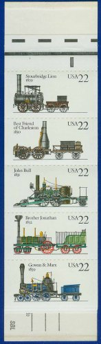 1987 USA UNUSED Scott# 2362-66 - 22c Pane of 5 Locomotives Booklet of 20 stamps � E4116