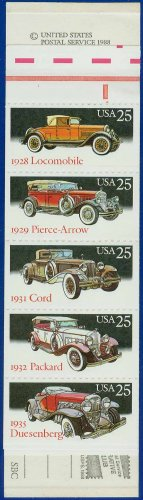 1988 USA UNUSED Scott# 2381-85 - 25c Pane of 5 Classic Cars Booklet of 20 stamps � E4116