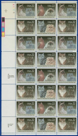 1988 USA UNUSED Scott# 2372-75 - 22c Cats Partial Sheet of 24 stamps � E4116