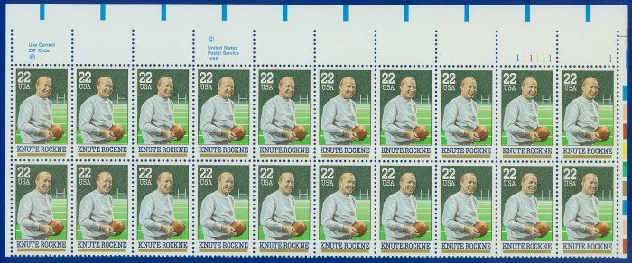 1988 USA UNUSED Scott# 2376 - 22c Knute Rockne Partial Sheet of 20 Stamps � E4116