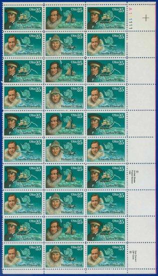 1988 USA UNUSED Scott# 2386-89 - 25c Antarctic Explorers Partial Sheet of 30 stamps � E4116