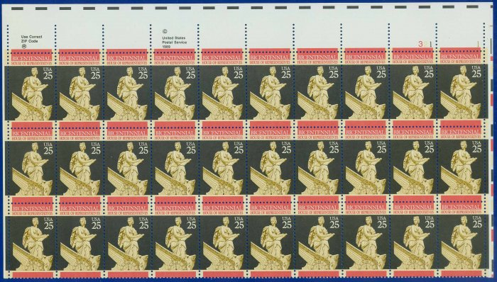 1989 USA UNUSED Scott# 2412 - 25c House of Representatives Partial Sheet of 30 Stamps � E4116