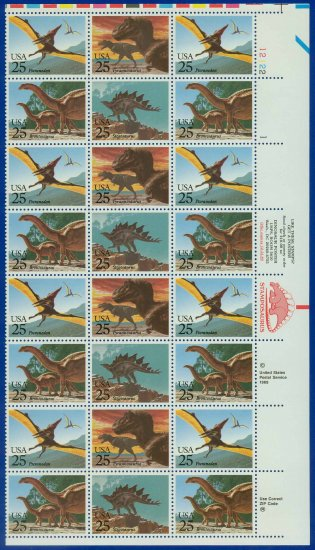 1989 USA UNUSED Scott# 2422-25 - 25c Dinosaurs Partial Sheet of 24 stamps � E4116