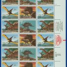 1989 USA UNUSED Scott# 2422-25 - 25c Dinosaurs Partial Sheet of 24 stamps – E4116