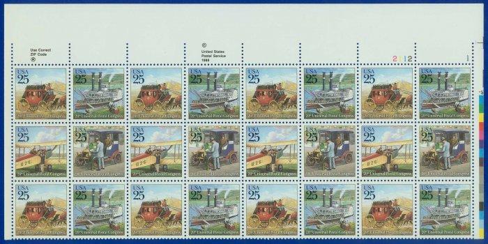 1989 USA UNUSED Sc# 2434-37 - 25c Classic Mail Transportation Partial Sheet of 24  � E4116