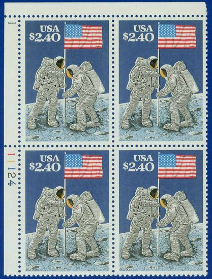 1989 USA Sc# 2419 UNUSED Block of 4 � $2.40 Priority Mail Moon Landing � 20th Ann E4116