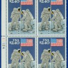 1989 USA Sc# 2419 UNUSED Block of 4 – $2.40 Priority Mail Moon Landing – 20th Ann E4116
