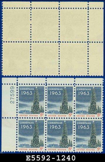 1963 USA MNH UNUSED Scott# 1240 Plate# Block of Six � 5c National Christmas Tree� 1963 Christmas