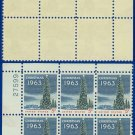 1963 USA MNH UNUSED Scott# 1240 Plate# Block of Six – 5c National Christmas Tree– 1963 Christmas