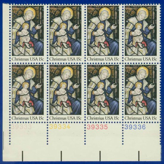 1980 USA MNH UNUSED Sc# 1842 Plate# Block of Eight � 15c Madonna & Child � 1980 Christmas E5592