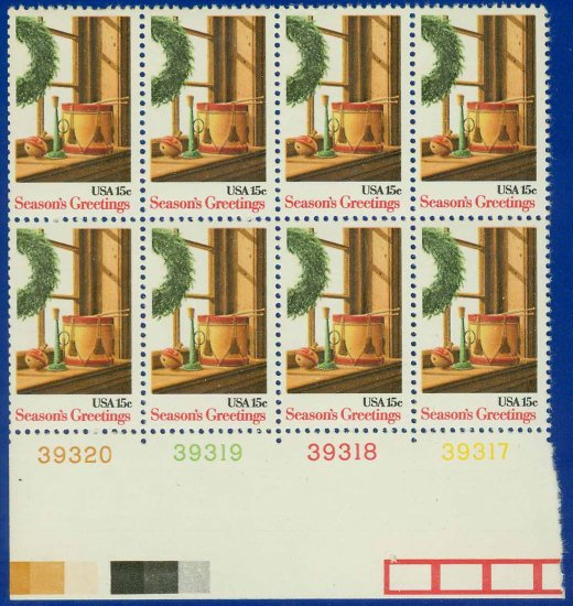 1980 USA MNH UNUSED Scott# 1843 Plate# Block of Eight � 15c Wreath & Toys � 1980 Christmas E5592