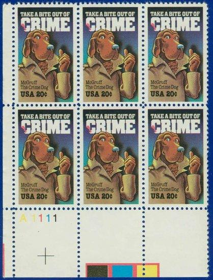 1984 USA MNH Sc# 2102 Plate# Blk of Six � 20c McGruff, The Crime Dog � 1984 Commemoratives E5592