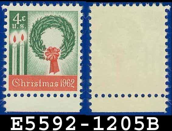 1962 USA UNUSED Scott# 1205 � 4c Wreath & Candles � 1962 Christmas Issue