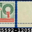1962 USA UNUSED Scott# 1205 – 4c Wreath & Candles – 1962 Christmas Issue