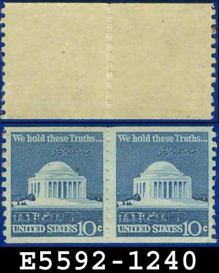 1973 USA Scott# 1520 UNUSED Coil Pair � 10c Jefferson Memorial � 1973  Regular Issue