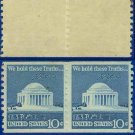 1973 USA Scott# 1520 UNUSED Coil Pair – 10c Jefferson Memorial – 1973  Regular Issue