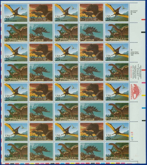 1989 USA UNUSED Scott# 2422-25 - 25c Dinosaurs Full Sheet of 40 stamps � E5592