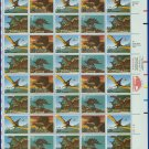 1989 USA UNUSED Scott# 2422-25 - 25c Dinosaurs Full Sheet of 40 stamps – E5592