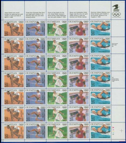 1990 USA UNUSED Scott# 2496-2500 - 25c Olympians Full Sheet of 35 stamps � E5592