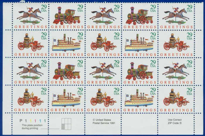 1992 USA UNUSED Scott# 2715-18 - 29c Traditional Christmas Partial Sheet of 20 stamps � E5592