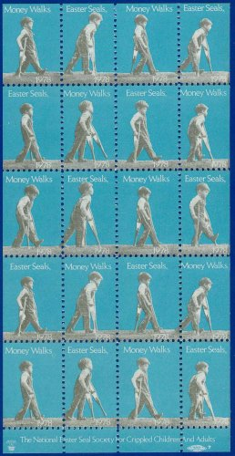 1978 USA UNUSED Money Walks Christmas Seals Partial Sheet of 20 stamps � E5592