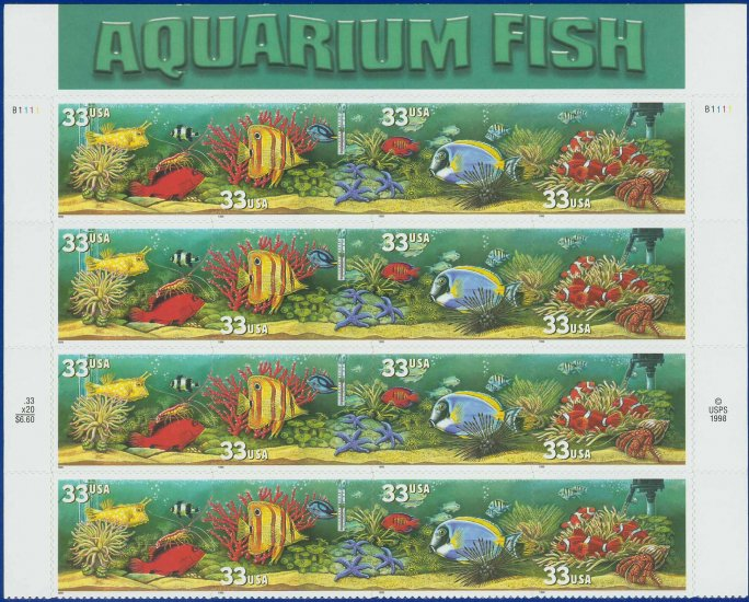 1999 USA UNUSED Scott# 3317-20 - 33c Aquarium Fish Partial Sheet of 16 stamps � E2703