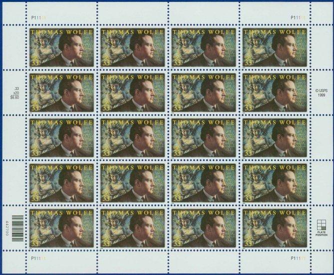 2000 USA UNUSED Scott# 3444 - 33c Thomas Wolfe Mini Sheet of 20 Stamps � E9855