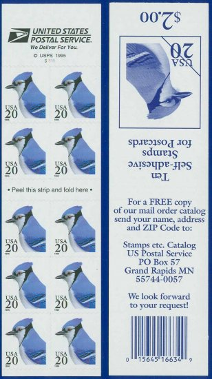 1996 USA UNUSED Sc# 3048 - 20c Blue Jay S/A Booklet of 10 stamps � Flora & Fauna Series E0452
