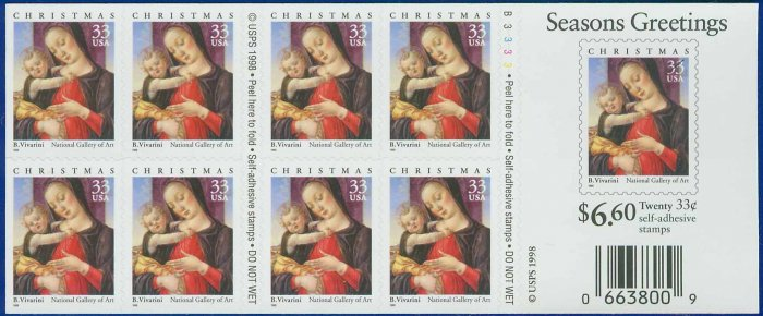 1999 USA UNUSED Scott# 3355 - 33c Madonna and Child Booklet of 20 stamps � 1999 Christmas E9855