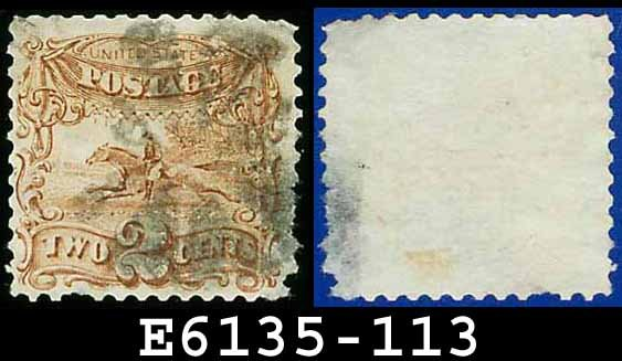 1869 USA USED Scott# 113 � 2c Pony Express Rider � 1869 Pictorial Issues